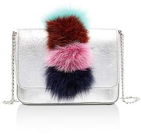 Loeffler Randall Lock Fur Trim Metallic Leather Shoulder Bag