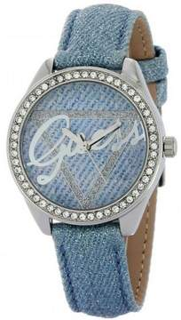 GUESS W0456L10 Women's Blue Leather Band With Blue Analog Dial Genuine Watch NWT