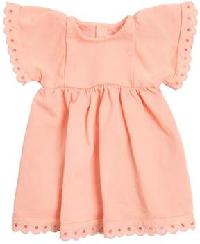 Chloé Cotton Sweatshirt Dress W/ Eyelet Lace