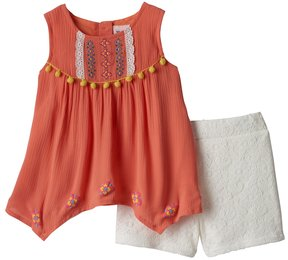 Little Lass Baby Girl Embroidered Gauze Tank Top & Lace Shorts Set
