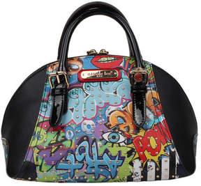 Nicole Lee Women's Street Style Graffiti Print Mini Bowler Bag