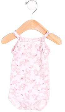 Petit Bateau Girls' Floral Print Ruffle-Trimmed All-In-One