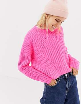 Stradivarius crew neck neon sweater