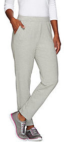 Denim & Co. As Is Active French Terry Slim Leg Pants w/Zipper Detail