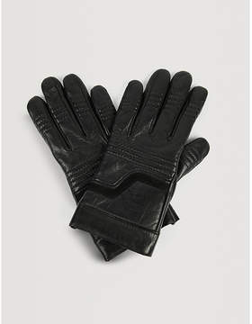 Zadig & Voltaire Ella suede-panelled leather gloves