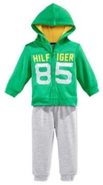 Tommy Hilfiger Infant Boys 2 Piece Green Gray Hoodie Jacket Sweat Pants Set 24m