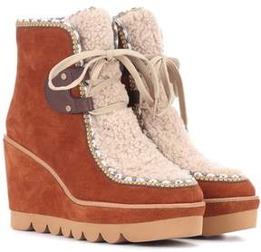 See by Chloe Shearling and suede ankle boots