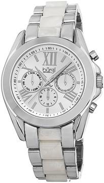 Burgi Multifunction Silver-tone Dial Silver-tone Base Metal Ladies Watch