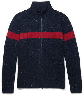 Brunello Cucinelli Striped Cable-Knit Donegal Wool And Cashmere-Blend Zip-Up Cardigan