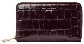 Aspinal of London Midi Continental Clutch Zip Wallet In Deep Shine Amazon Brown Croc