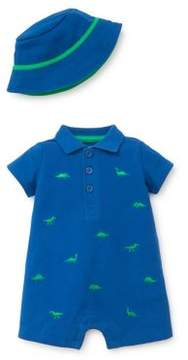 Little Me Baby Boy's Two-Piece Dino Cotton Hat and Romper Set