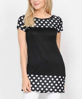 Celeste Black & White Polka Dot Tunic - Women