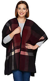 Denim & Co. As Is Plaid Printed Reversible Fleece Poncho