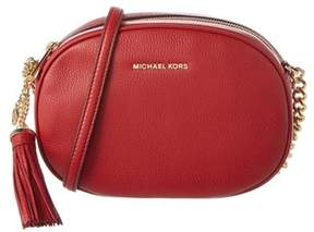 MICHAEL Michael Kors Ginny Medium Leather Messenger. - RED - STYLE
