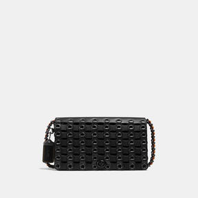 COACH DINKY IN LINK GLOVETANNED LEATHER - f37296 - BLACK COPPER/BLACK