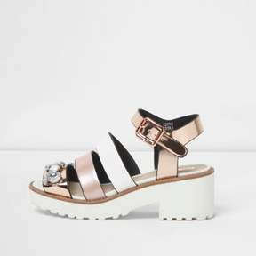 River Island Girls pink multi strap embellished sandals