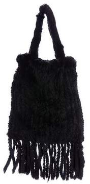 Dolce & Gabbana Knitted Fur Handle Bag - BLACK - STYLE