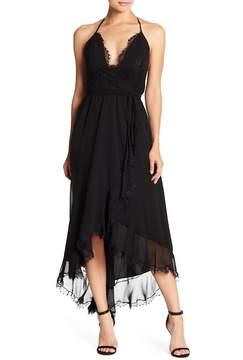 Dress the Population Gia Halter Hi-Lo Wrap Dress