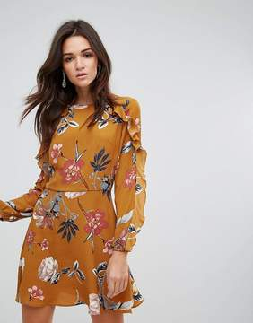 AX Paris Long Sleeve Shift Dress With Frill Detail In Bold Floral Print