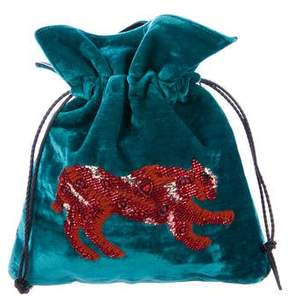 Les Petits Joueurs Trilly Embellished Velvet Pouch
