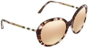 Burberry Dark Brown Mirror Rose Gold Round Ladies Sunglasses