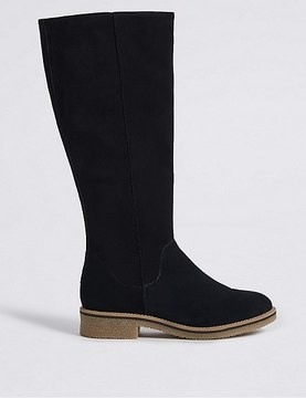 Marks and Spencer Suede Block Heel Knee High Boots
