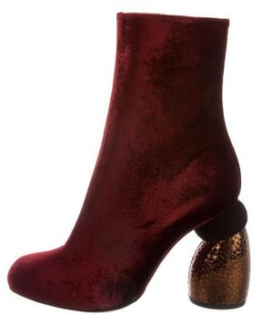 Dries Van Noten Velvet Round-Toe Ankle Boots w/ Tags