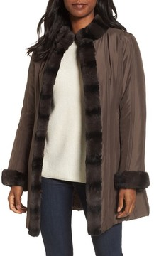 George Simonton Women's Couture Packable Silk Coat With Genuine Rabbit Fur Trim