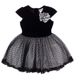 Nicole Miller Velvet Cap Sleeve Top & Flocked Tulle Lace Trim Bottom Dress (Baby Girls)
