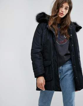 Converse Parka With Faux Fur Hood