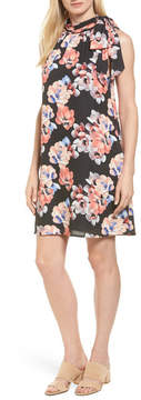 CeCe Floral Tie Neck Shift Dress