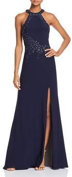 Aqua Embellished Mesh-Back Gown - 100% Exclusive
