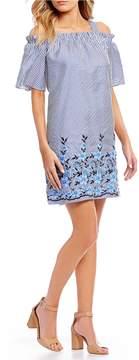 London Times Stripe Off The Shoulder Embroidered Shift Dress