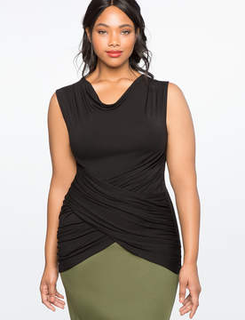 ELOQUII Draped Wrap Front Top