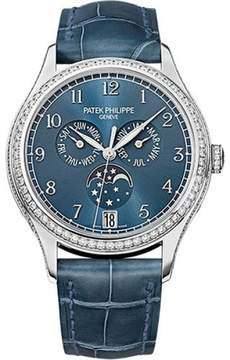 Patek Philippe 18K White Gold / Leather Automatic 38mm Womens Watch