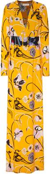 Emilio Pucci Belted Printed Crepe Maxi Dress
