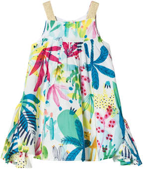 Catimini White Tropical Floral Sun Dress with Ruffle Side Panels