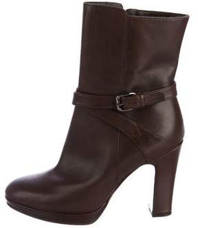 Max Mara Buckle-Accented Leather Ankle Boots