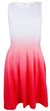 Calvin Klein Women's Ombre Sleeveless Scuba Knit Dress (6, Watermelon)