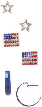 Carole Three-Pair Rhinestone Flag Earrings Set