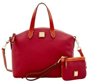 Dooney & Bourke Pebble Grain Satchel & Medium Wristlet - CRANBERRY - STYLE