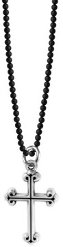 King Baby Studio Men's Sterling Silver & Onyx Cross Pendant Necklace