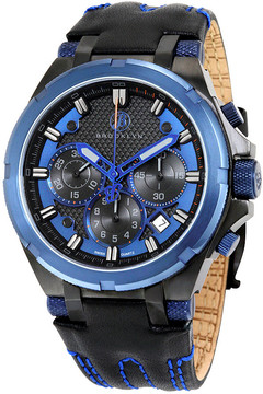 Co Brooklyn Watch Brooklyn Malcolm Black and Blue Sports Swiss Quartz Choronograph Men's Watch