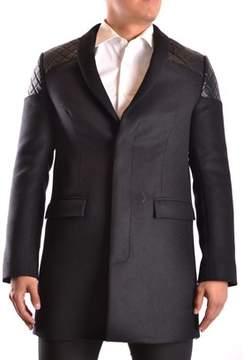 Les Hommes Men's Black Wool Coat.