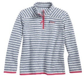 Vineyard Vines Girl's Shep Stripe Fleece Quarter Zip Pullover