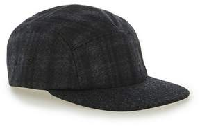 Topman Mens Multi Black Subtle Check 5 Panel Cap