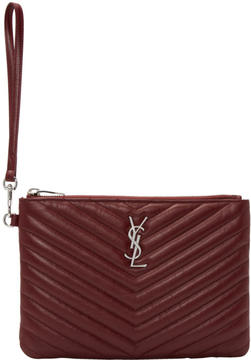 Saint Laurent Burgundy Quilted Monogram Pouch - BURGUNDY - STYLE