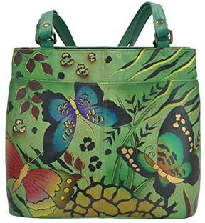 Anuschka Anna by Women's Genuine Leather Large Twin Compartment Tote Bag | Hand Painted Original Artwork | Animal Butterfly Green