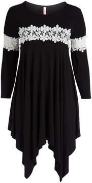 Celeste Black Lace-Trim Sidetail Tunic - Plus