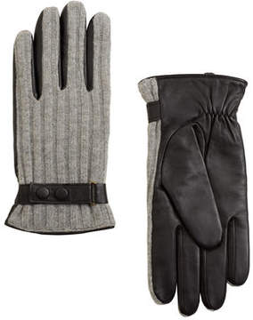 Mango Outlet Leather wool-blend gloves